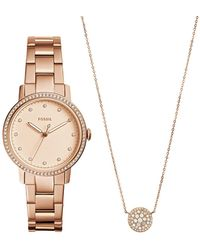 Fossil - Women's Neely Crystal Accented Bracelet Watch & Necklace Set, 35mm - Lyst