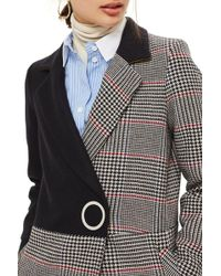TOPSHOP - Colorblock Check Wool Blend Coat - Lyst