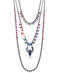 Steve Madden - Multi-cut Rhinestone Triple Strand Necklace - Lyst