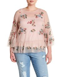 Democracy - Mesh Embroidered Ruffle Blouse (plus Size) - Lyst
