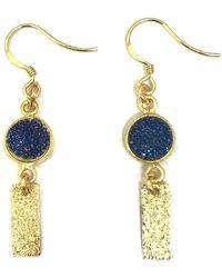 Charlene K - 14k Yellow Gold Plated Sterling Silver Blue Druzy Linear Drop Earrings - Lyst