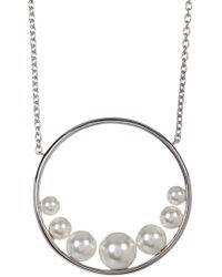 Judith Jack - Crystal, Pearl, & Marcasite Detail Circle Pendant Necklace - Lyst