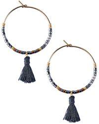 Mishky - Alba Beaded Hoop & Tassel Drop Earrings - Lyst