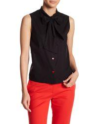 Love Moschino - Bott Heart Button Necktie Blouse - Lyst