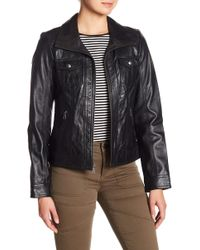 Guess - Lamb Leather Jacket - Lyst