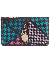 Lodis Houndstooth Rfid Mini Leather Card Case - Blue