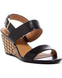 CALVIN KLEIN 205W39NYC - Peony Leather Grid Wedge Heel Sandal - Lyst