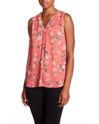 Adrianna Papell - Patterned V-neck Blouse - Lyst