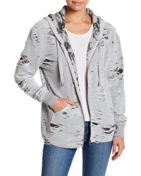 Sweet Romeo - Distressed Zip Up Hoodie - Lyst