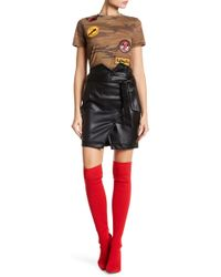 Romeo and Juliet Couture - Coat Style Faux Leather Mini Skirt - Lyst