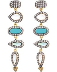 Freida Rothman - Pave Cz Turquoise Linear Drop Earrings - Lyst