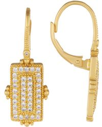 Freida Rothman - 14k Gold Plated Sterling Silver Amazonian Allure Pave Bar Drop Earrings - Lyst