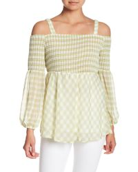Eci - Off-the-shoulder Gingham Print Top - Lyst