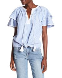Seven7 | Striped Tied Front Tee | Lyst