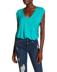 Free People - V-neck Short Sleeve Knit Bodysuit - Lyst