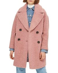 TOPSHOP - Alicia Boucle Slouch Coat - Lyst