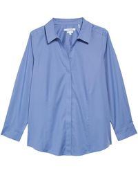 Foxcroft - Ellen Solid Stretch Cotton Top (plus Size) - Lyst