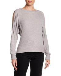 Go Couture - Printed Drop Shoulder Dolman Sleeve Sweater - Lyst