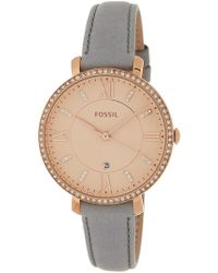 Fossil - Women's Jacqueline Crystal Embellished Leather Strap Watch, 36mm - Lyst