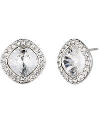 Givenchy - Pave Cushion Cut Crystal Button Stud Earrings - Lyst