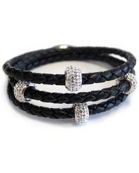 Liza Schwartz Sterling Silver Crystal Bedazzle Triple Wrap Black Leather Bracelet