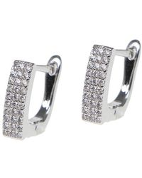 CZ by Kenneth Jay Lane - Cz Pave Square Huggie Earrings - Lyst