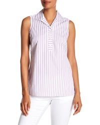 Foxcroft - Dani Stripe Sleeveless Shirt - Lyst