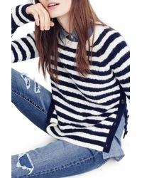 J.Crew | Stripe Cable Knit Jumper With Buttons | Lyst