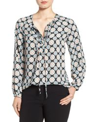 Pleione - Tie Neck Long Sleeve Peasant Blouse - Lyst