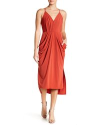 BCBGeneration - Faux Wrap Midi Dress - Lyst
