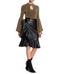 Gracia - Pleather Ruffle Wrap Skirt - Lyst