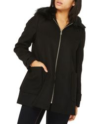 Dorothy Perkins - Hooded Duffle Coat With Faux Fur Trim - Lyst