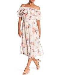 Lucky Brand - Off-the-shoulder Floral Midi Dress - Lyst