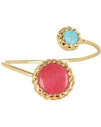 TMRW STUDIO - Gold Plated Scalloped Bezel Set Turquoise & Pink Jade Cuff Bracelet - Lyst