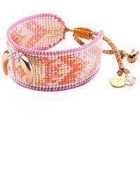 Mishky - Crescent Beaded Leather Slide Bracelet - Lyst