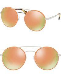 28f76687999 Lyst - Prada Women s Aviator Metal Frame Sunglasses