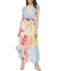 TOPSHOP - Paradise Plunge Maxi Dress - Lyst