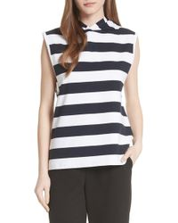 Tibi - Muscle Stripe Stretch Cotton Tee - Lyst