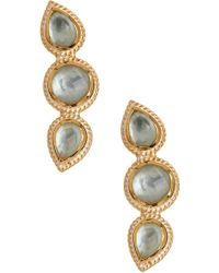 Anna Beck - 18k Gold Plated Sterling Silver Triple Aqua Stone Stud Earrings - Lyst