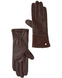 MICHAEL Michael Kors - Woven Cuff Leather Gloves - Lyst