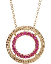 Bony Levy - Ruby Circle Pendant Necklace With Etched 18k Yellow Gold Halo - Lyst