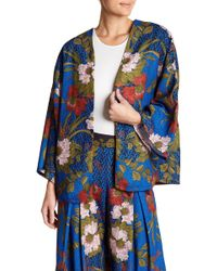 Jealous Tomato - Oversized Open Face Floral Designed Kimono - Lyst
