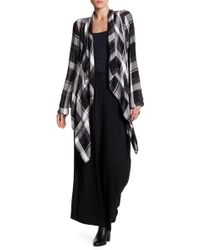 FAVLUX - Plaid Open Front Cardigan - Lyst