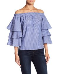 Romeo and Juliet Couture - Tiered Bell Sleeve Off-the-shoulder Blouse - Lyst