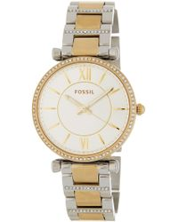 Fossil - Women's Carlie Crystal Accented Bracelet Watch, 35mm - Lyst