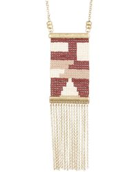 Lucky Brand - Seed Bead Fringe Pendant Necklace - Lyst