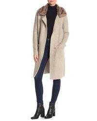 Love Token - Faux Fur Collared Knit Jacket - Lyst