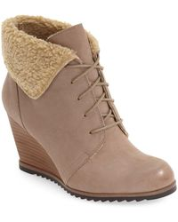 Caslon - Gaby Faux Shearling Lace-up Bootie (women) - Lyst