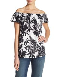NYDJ - Off-the-shoulder Tropical Print Top - Lyst