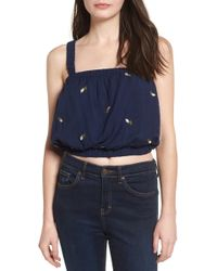 Storee - Embroidered Crop Top - Lyst